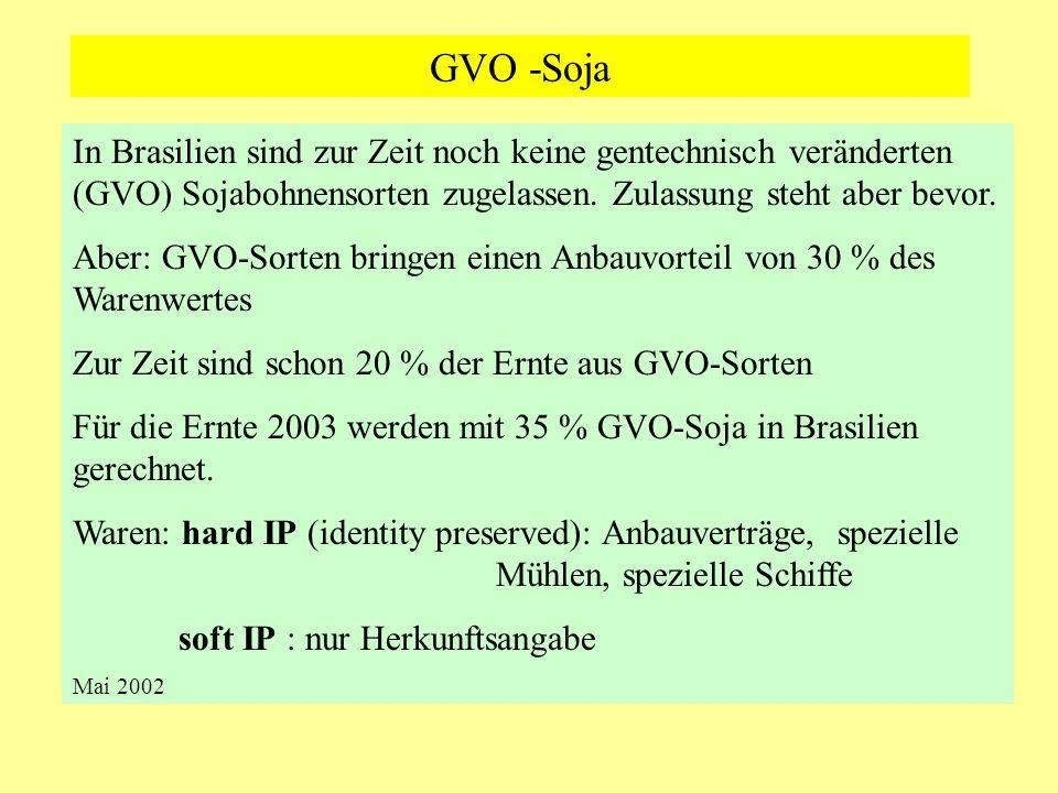 GVO -Soja In Brasilien sind zur Zeit noch keine gentechnisch veränderten (GVO) Sojabohnensorten zugelassen. Zulassung steht aber bevor.