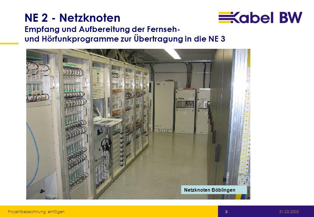 NE 2 - Netzknoten Empfang und Aufbereitung der Fernseh- und Hörfunkprogramme zur Übertragung in die NE 3