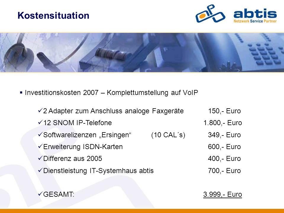 Investitionskosten 2007 – Komplettumstellung auf VoIP