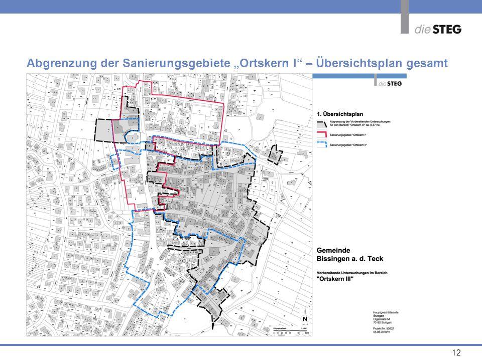 """Abgrenzung der Sanierungsgebiete """"Ortskern I – Übersichtsplan gesamt"""