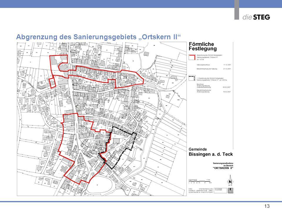 """Abgrenzung des Sanierungsgebiets """"Ortskern II"""