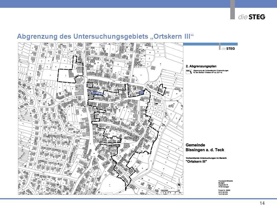 """Abgrenzung des Untersuchungsgebiets """"Ortskern III"""