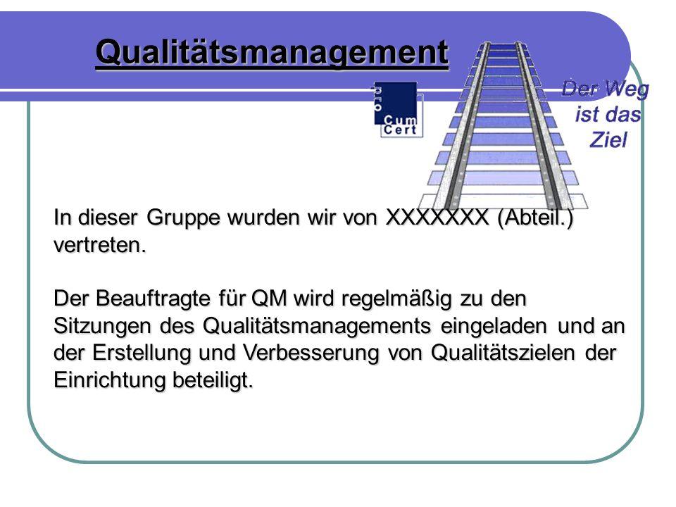 Qualitätsmanagement In dieser Gruppe wurden wir von XXXXXXX (Abteil.) vertreten.