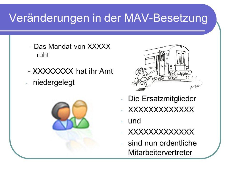 Veränderungen in der MAV-Besetzung