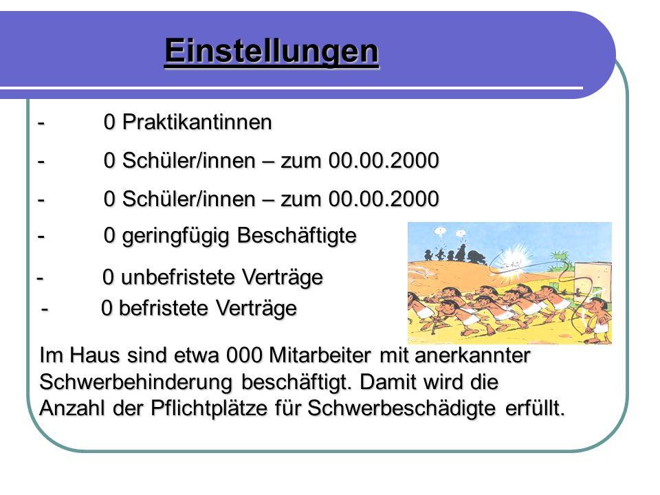Einstellungen - 0 Praktikantinnen - 0 Schüler/innen – zum 00.00.2000