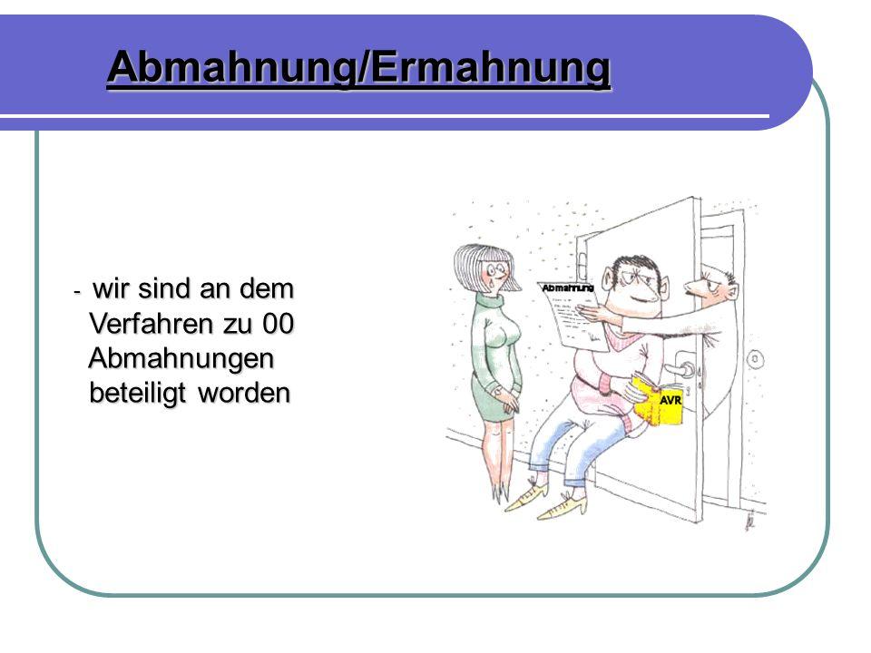 Abmahnung/Ermahnung - wir sind an dem Verfahren zu 00 Abmahnungen