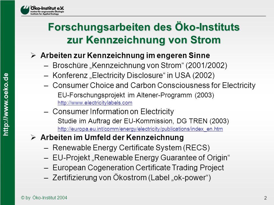 Forschungsarbeiten des Öko-Instituts zur Kennzeichnung von Strom