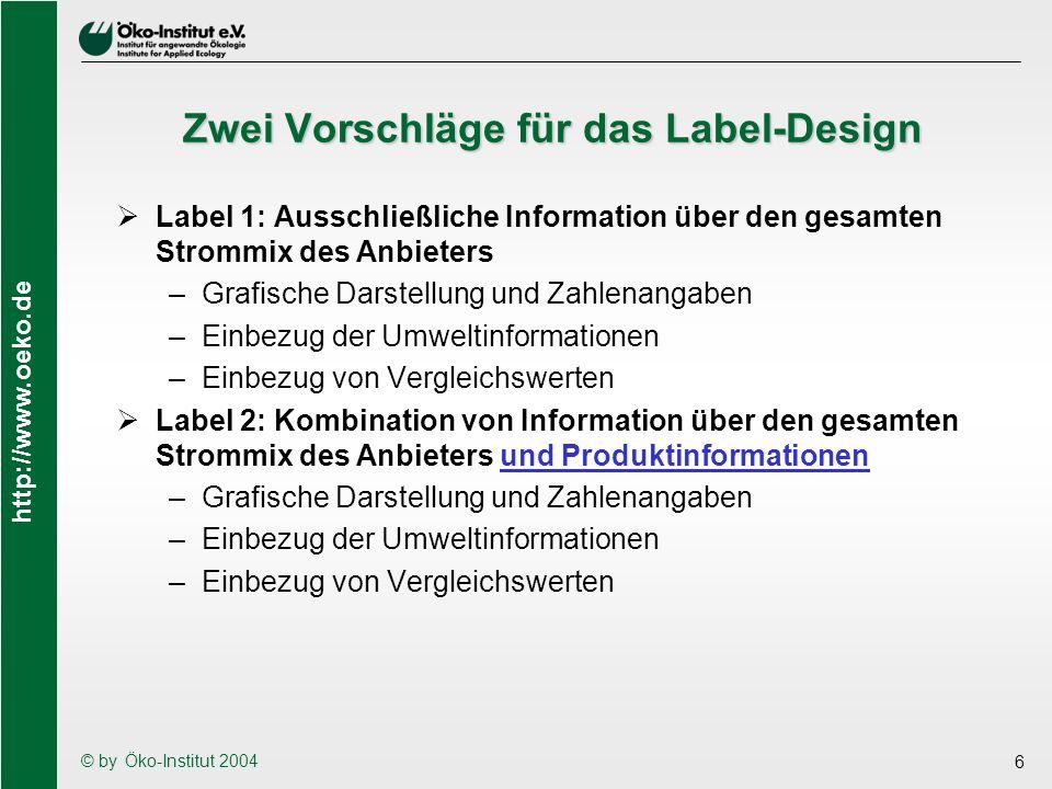 Zwei Vorschläge für das Label-Design