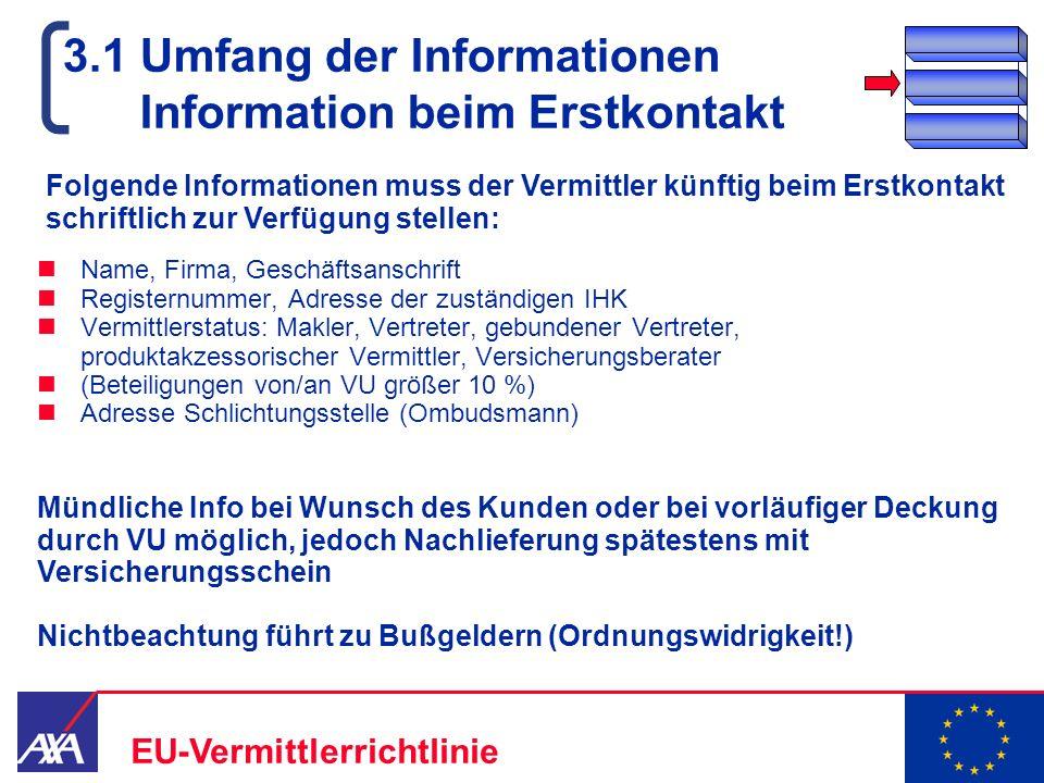 3.1 Umfang der Informationen Information beim Erstkontakt