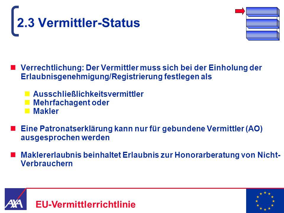2.3 Vermittler-Status Verrechtlichung: Der Vermittler muss sich bei der Einholung der Erlaubnisgenehmigung/Registrierung festlegen als.