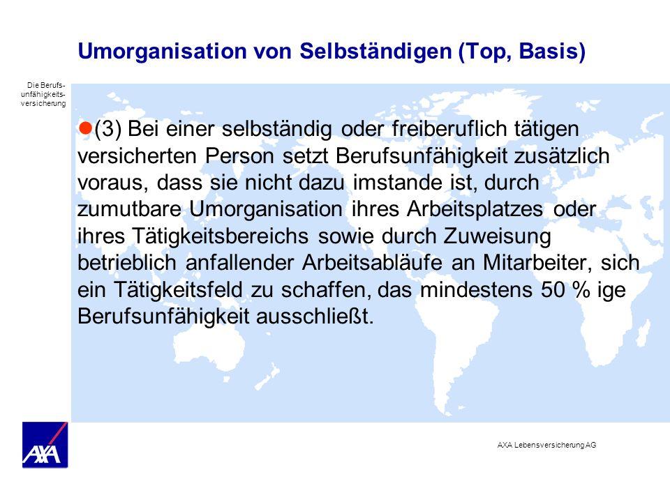 Umorganisation von Selbständigen (Top, Basis)