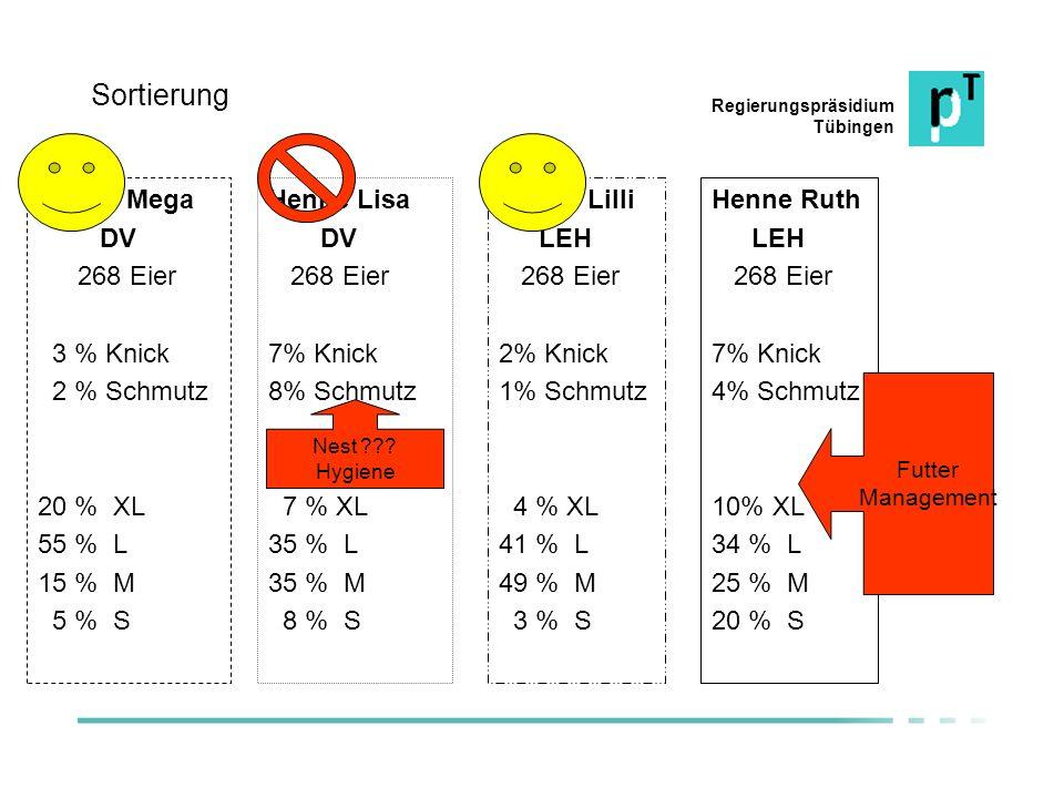 Sortierung Henne Mega DV 268 Eier 3 % Knick 2 % Schmutz 20 % XL 55 % L
