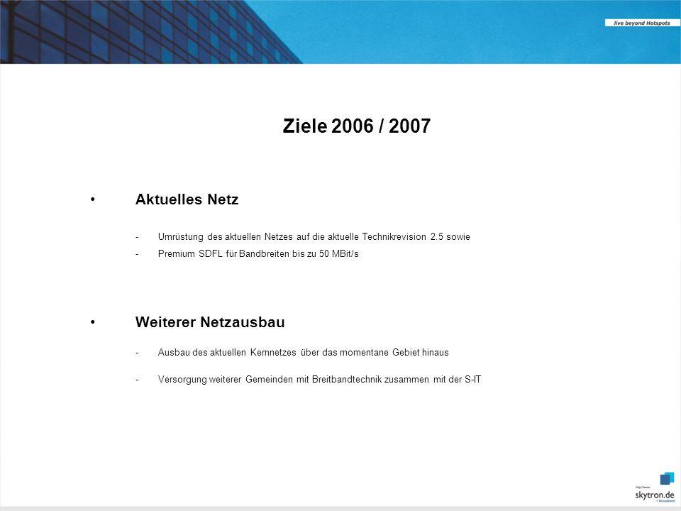 Ziele 2006 / 2007 Aktuelles Netz. - Umrüstung des aktuellen Netzes auf die aktuelle Technikrevision 2.5 sowie.