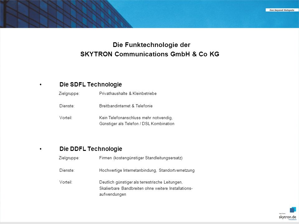 Die Funktechnologie der SKYTRON Communications GmbH & Co KG