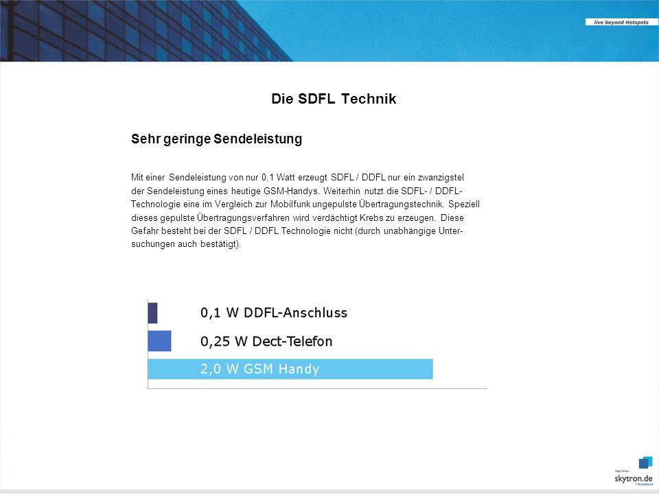 Die SDFL Technik Sehr geringe Sendeleistung