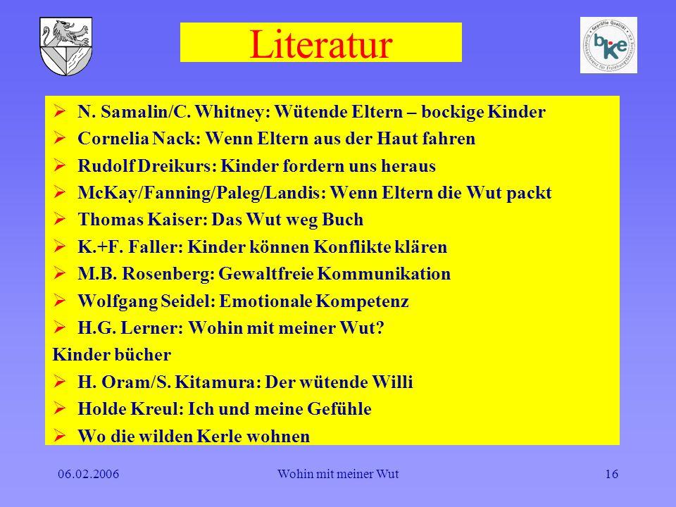 Literatur N. Samalin/C. Whitney: Wütende Eltern – bockige Kinder