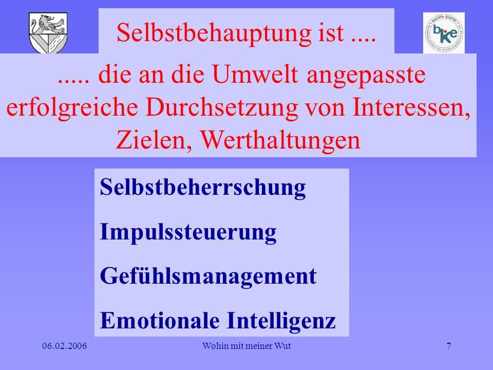 Selbstbehauptung ist .... ..... die an die Umwelt angepasste erfolgreiche Durchsetzung von Interessen, Zielen, Werthaltungen.