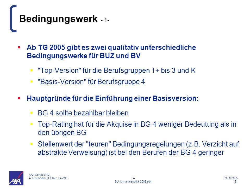 Bedingungswerk - 1- Ab TG 2005 gibt es zwei qualitativ unterschiedliche Bedingungswerke für BUZ und BV.