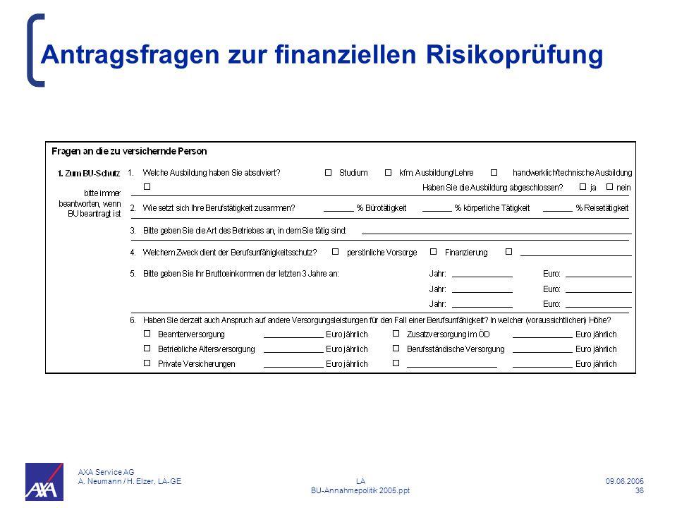 Antragsfragen zur finanziellen Risikoprüfung