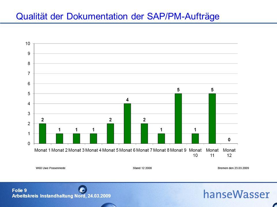 Qualität der Dokumentation der SAP/PM-Aufträge