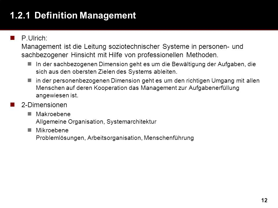 1.2.1 Definition Management