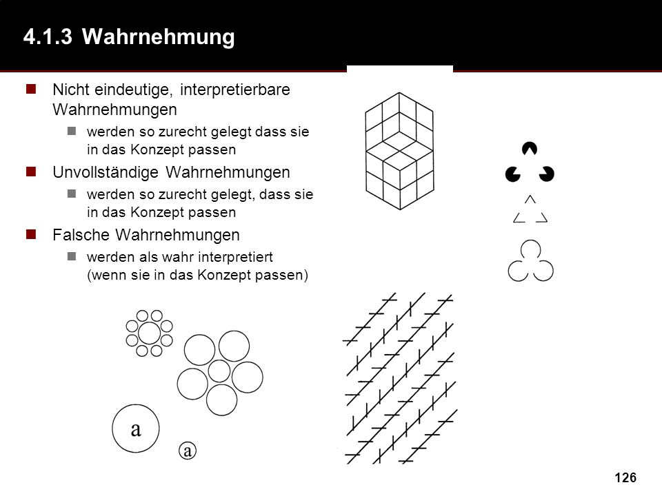 4.1.3 Wahrnehmung Nicht eindeutige, interpretierbare Wahrnehmungen