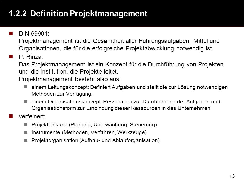 1.2.2 Definition Projektmanagement