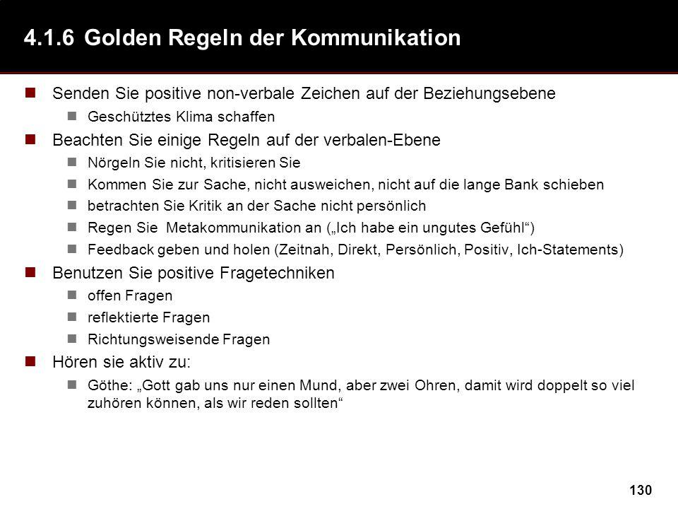 4.1.6 Golden Regeln der Kommunikation