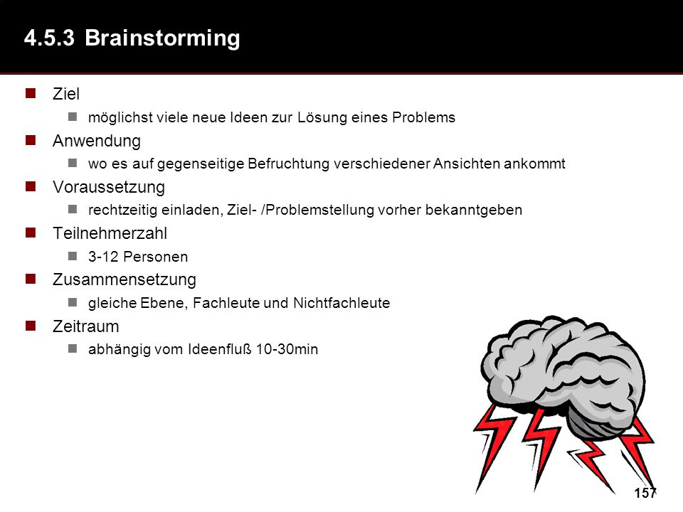 4.5.3 Brainstorming (Alex Osborn ´38) Ziel Anwendung Voraussetzung