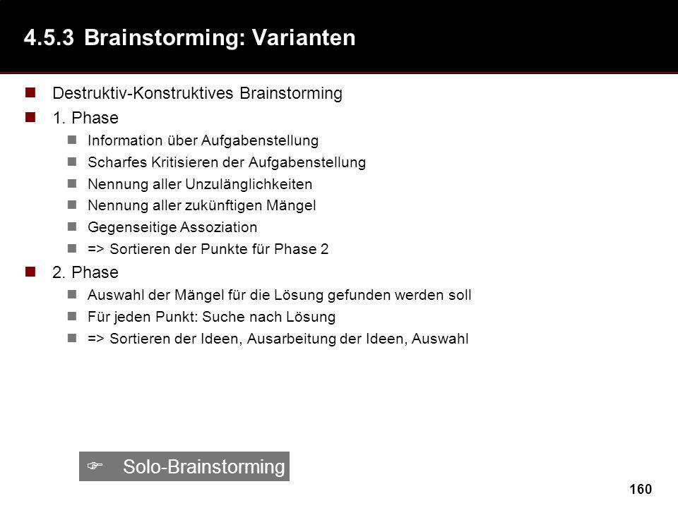 4.5.3 Brainstorming: Varianten
