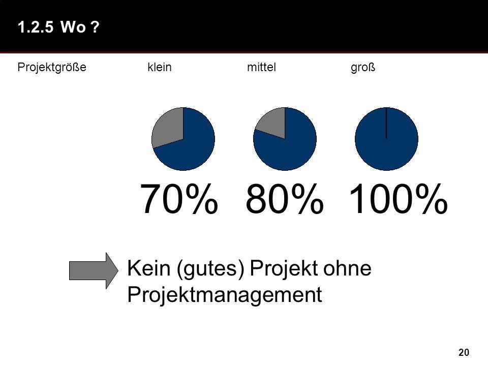 70% 80% 100% Kein (gutes) Projekt ohne Projektmanagement 1.2.5 Wo