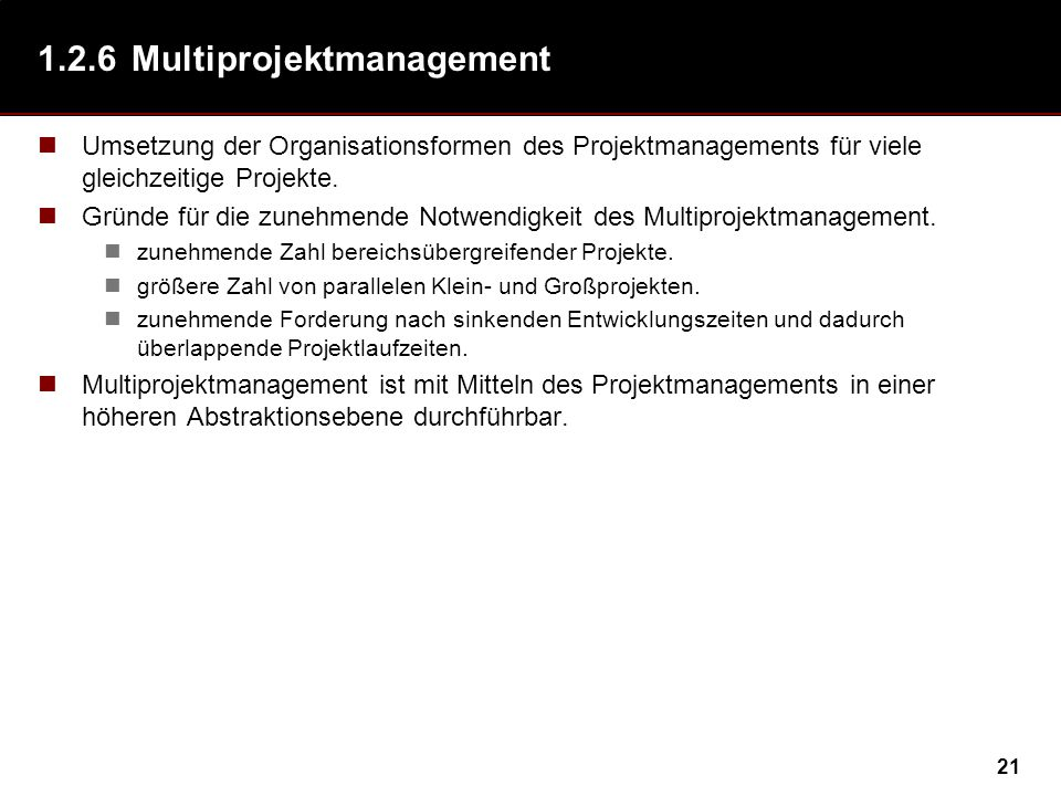 1.2.6 Multiprojektmanagement