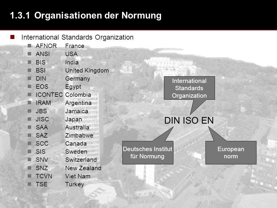1.3.1 Organisationen der Normung