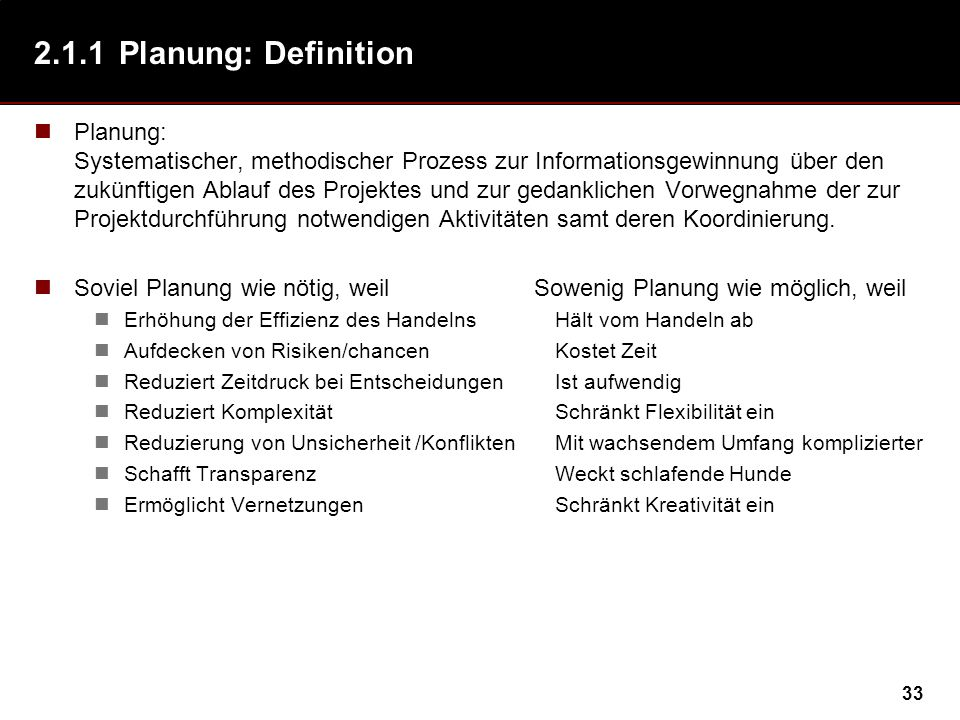 2.1.1 Planung: Definition