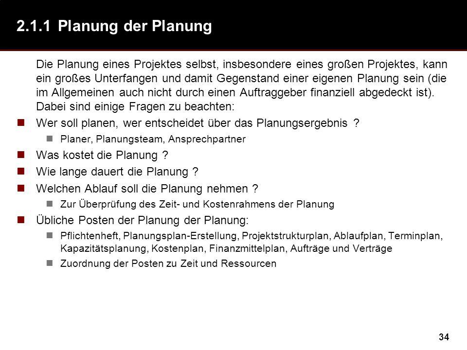 2.1.1 Planung der Planung