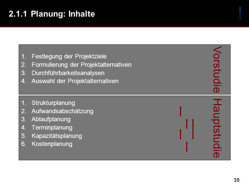 ! Vorstudie Hauptstudie 2.1.1 Planung: Inhalte