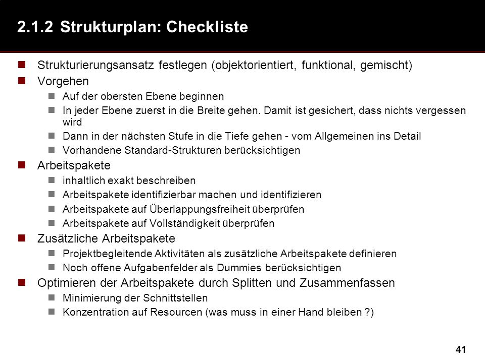 2.1.2 Strukturplan: Checkliste