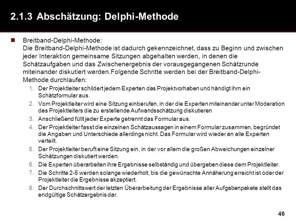2.1.3 Abschätzung: Delphi-Methode