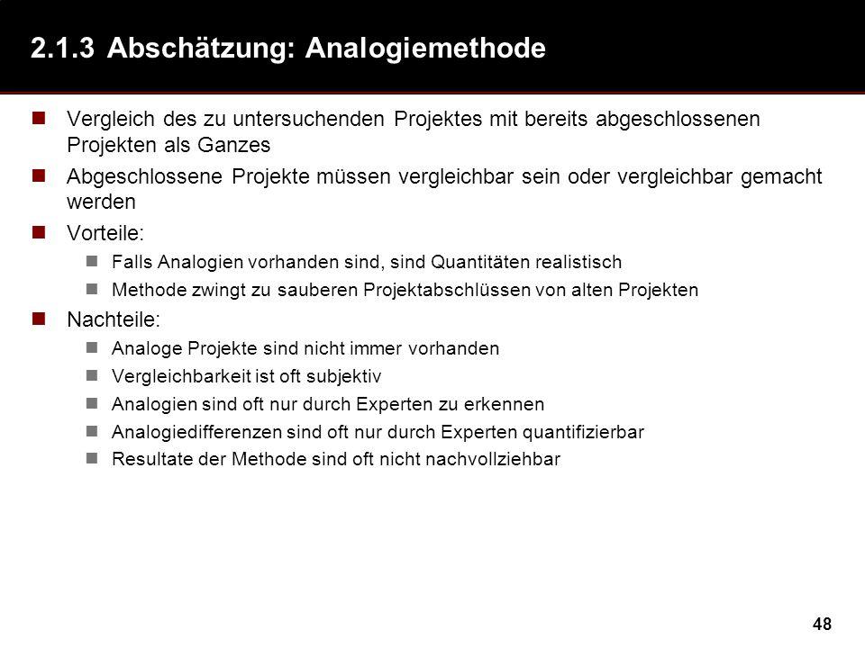 2.1.3 Abschätzung: Analogiemethode