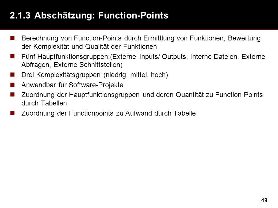 2.1.3 Abschätzung: Function-Points