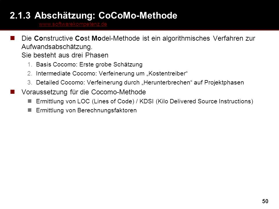 2.1.3 Abschätzung: CoCoMo-Methode