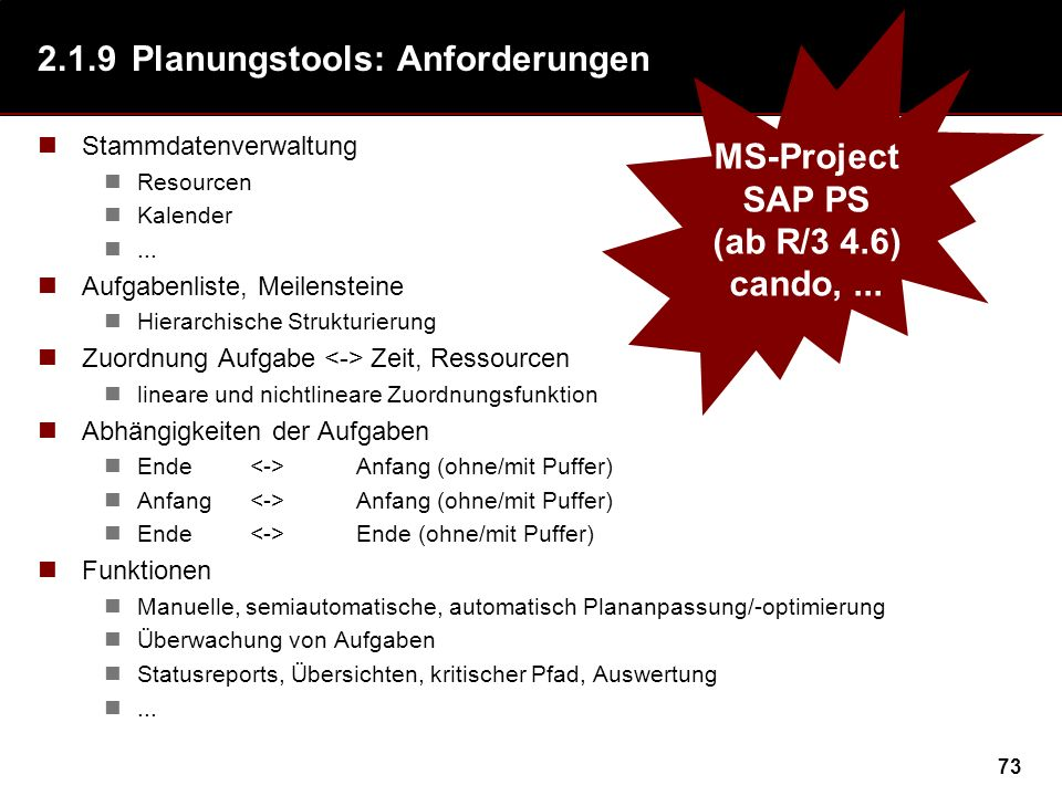 2.1.9 Planungstools: Anforderungen