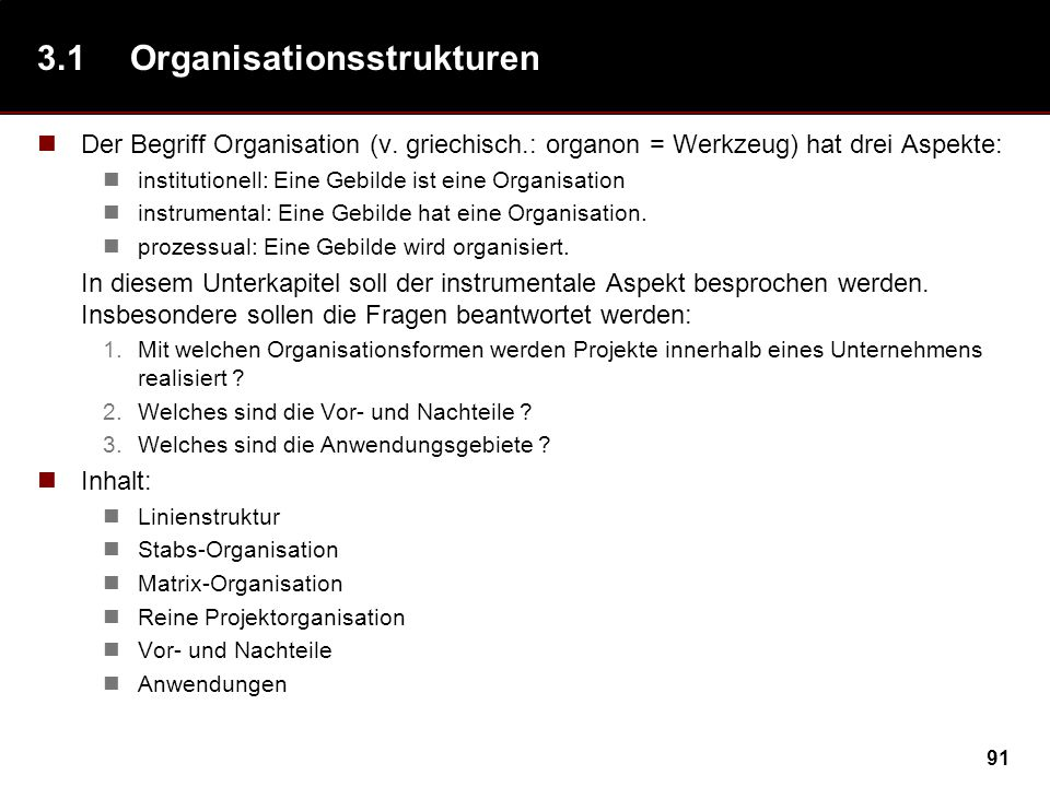 3.1 Organisationsstrukturen