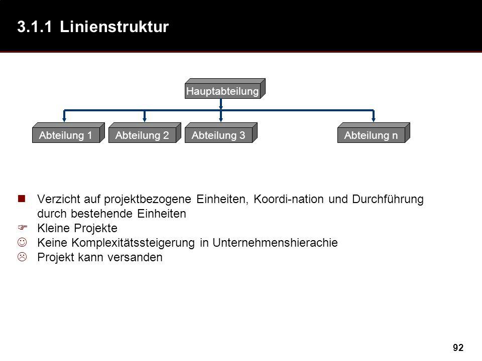 3.1.1 Linienstruktur Abteilung 1. Abteilung 2. Abteilung 3. Abteilung n. Hauptabteilung.