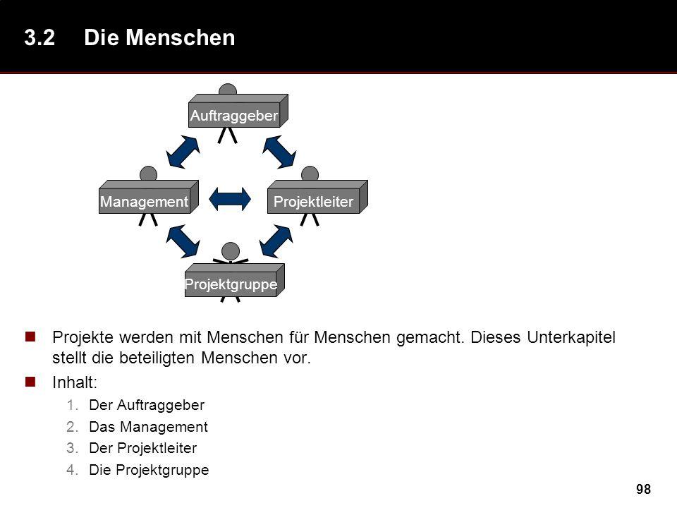 3.2 Die Menschen Auftraggeber. Management. Projektleiter. Projektgruppe.