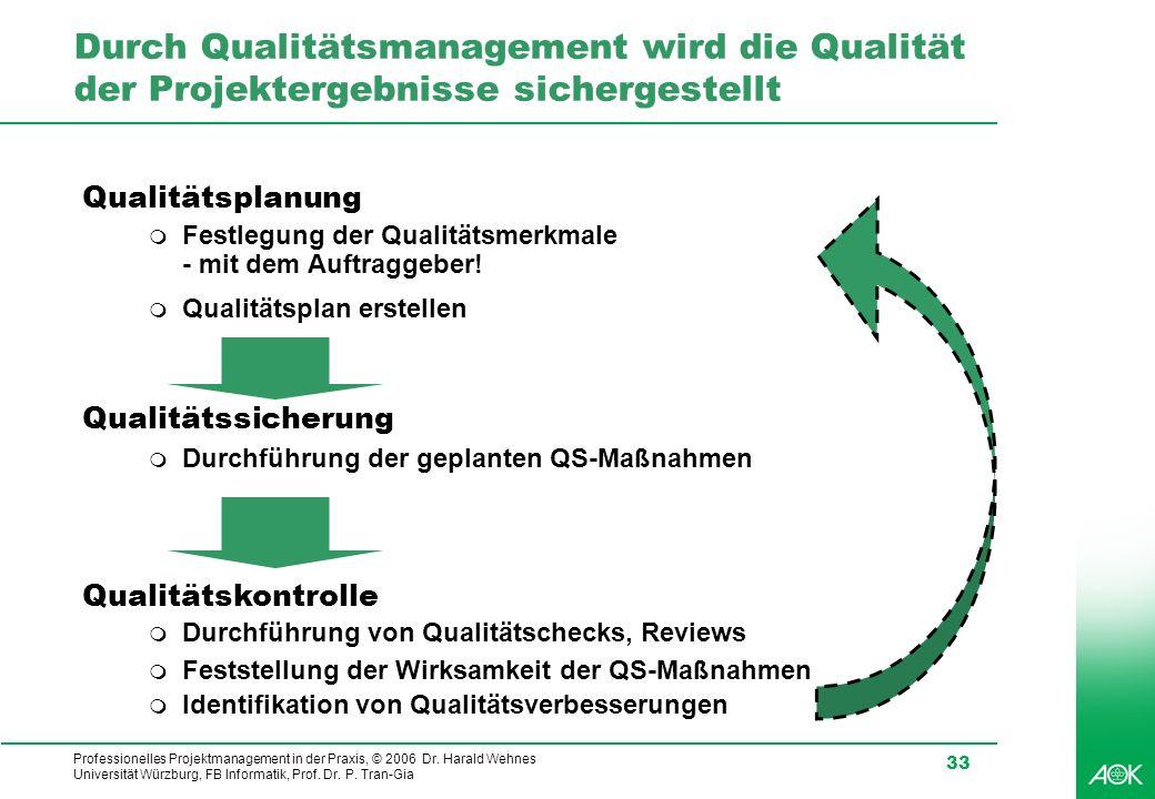 Durch Qualitätsmanagement wird die Qualität der Projektergebnisse sichergestellt