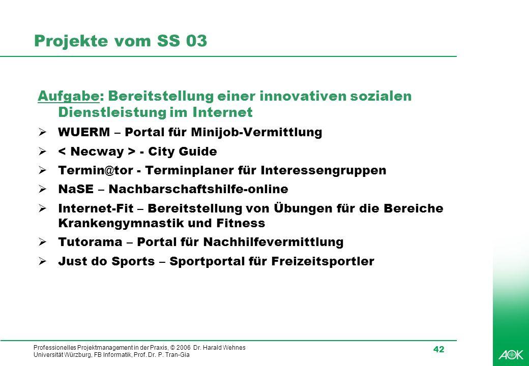 Projekte vom SS 03 Aufgabe: Bereitstellung einer innovativen sozialen Dienstleistung im Internet. WUERM – Portal für Minijob-Vermittlung.