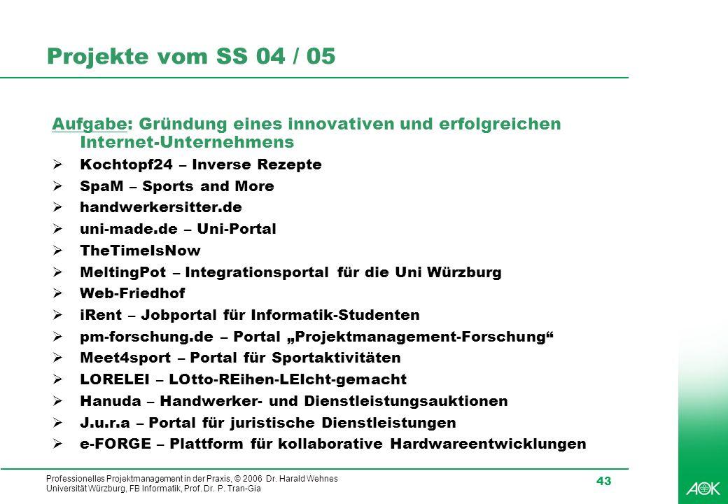 Projekte vom SS 04 / 05 Aufgabe: Gründung eines innovativen und erfolgreichen Internet-Unternehmens.