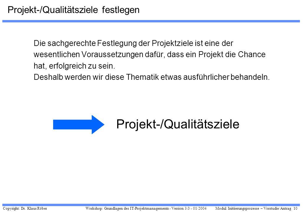 Projekt-/Qualitätsziele festlegen