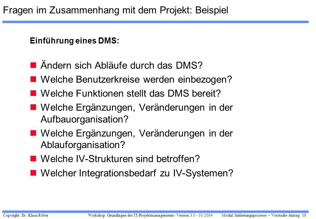 Fragen im Zusammenhang mit dem Projekt: Beispiel